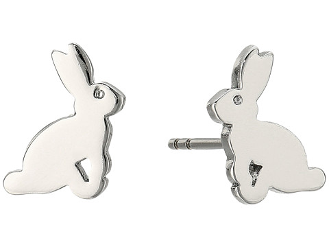 Fossil Bunny Stud Earring - Silver Tone
