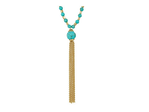 Vera Bradley Semi-Precious Tassel Pendant Necklace - Gold Tone