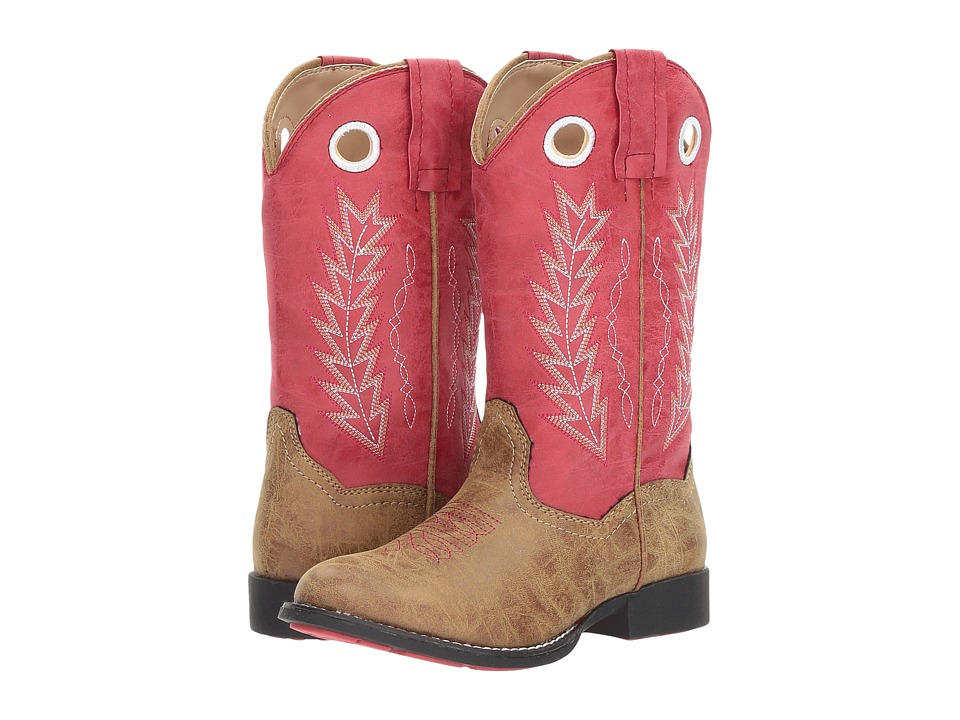Roper Kids - Hole In The Wall (Toddler/Little Kid) (Tan Faux Leather Vamp Red Shaft) Cowboy Boots