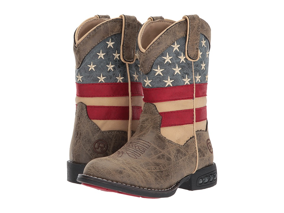 Roper Kids Patriot (Toddler/Little Kid) (Faux Leather Vamp Stars + Stripes Shaft) Cowboy Boots