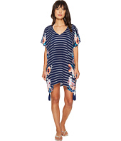 Seafolly - Castaway Stripe Antique Floral Kaftan Cover-Up