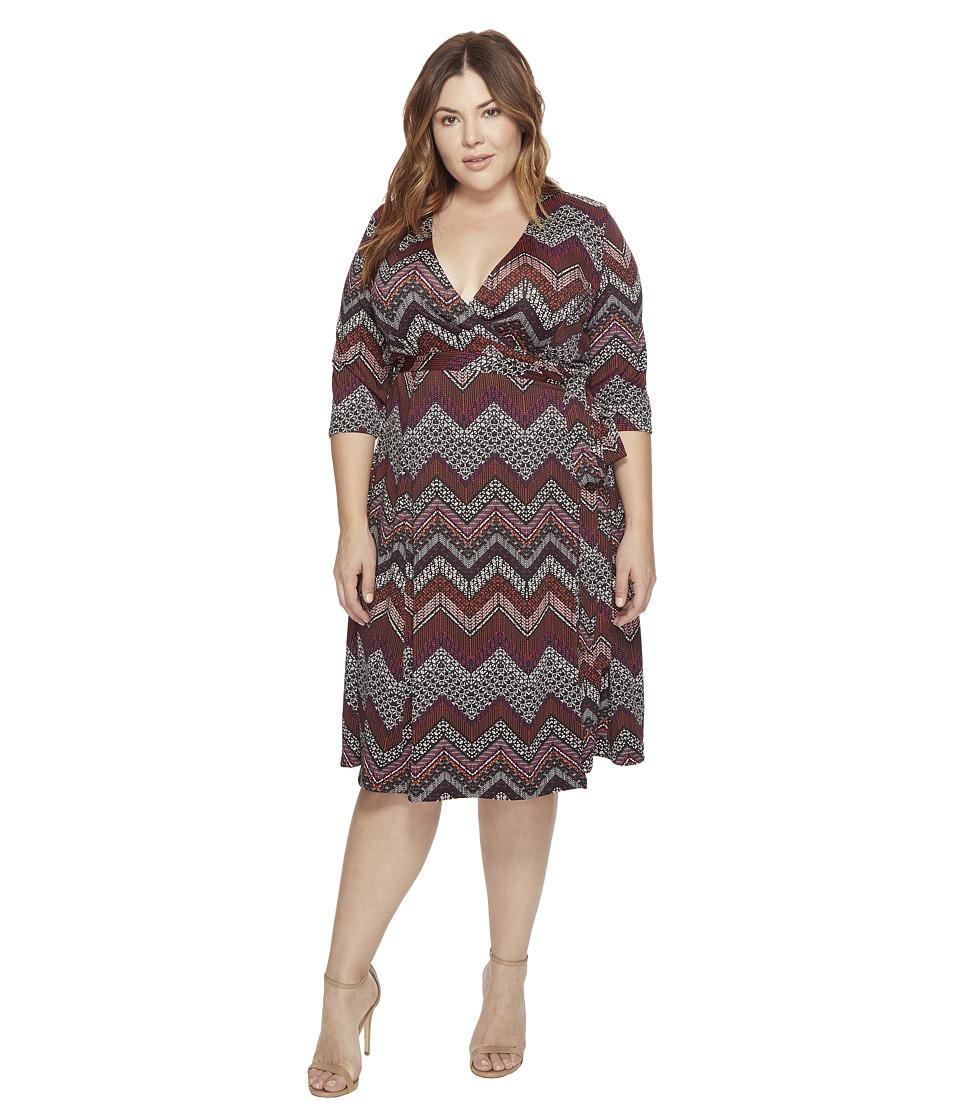 Kiyonna Essential Wrap Dress (Chevron Mix Print) Women