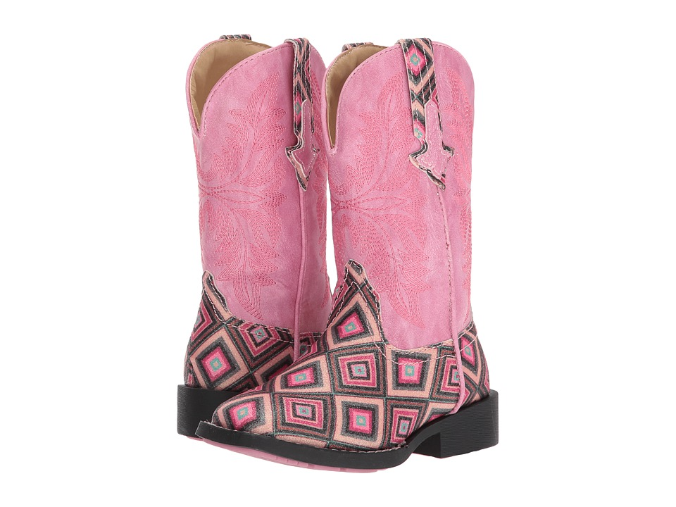 Roper Kids Glitter Gal (Toddler/Little Kid) (Geometric Pink Glitter Vamp Pink Shaft) Cowboy Boots