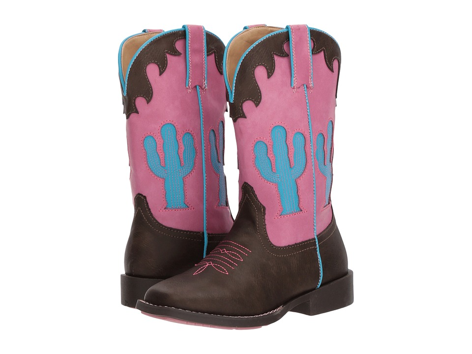 Roper Kids Cactus (Toddler/Little Kid) (Brown Faux Leather Vamp Cactus Shaft) Cowboy Boots