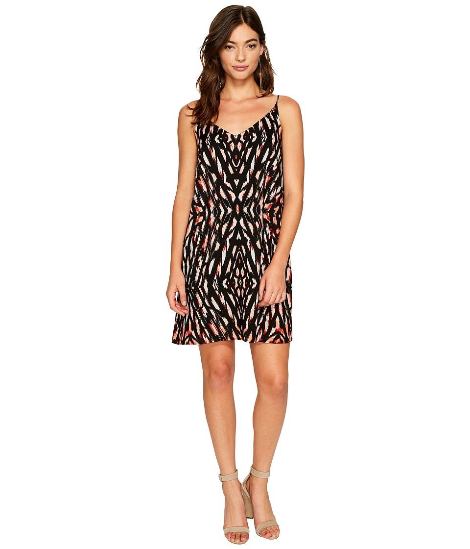1.STATE Spaghetti Strap Lattice Back Shift Dress (Rich Black) Women