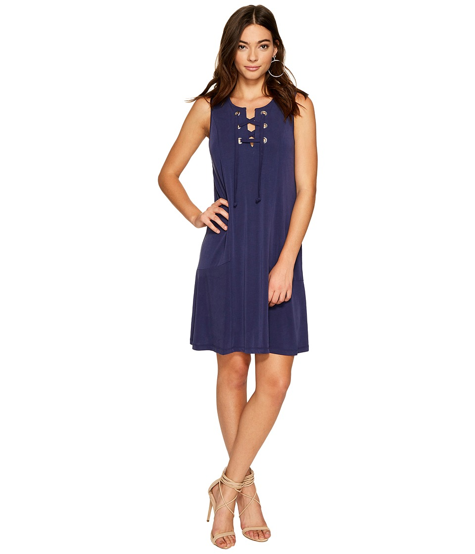 1.STATE Lace-Up Shift Dress (Evening Sky) Women
