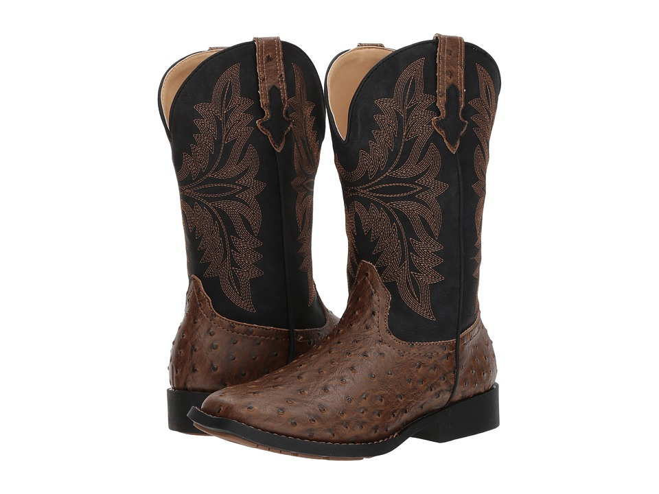 Roper Kids Jed (Big Kid) (Brown Faux Ostrich Vamp Black Shaft) Cowboy Boots