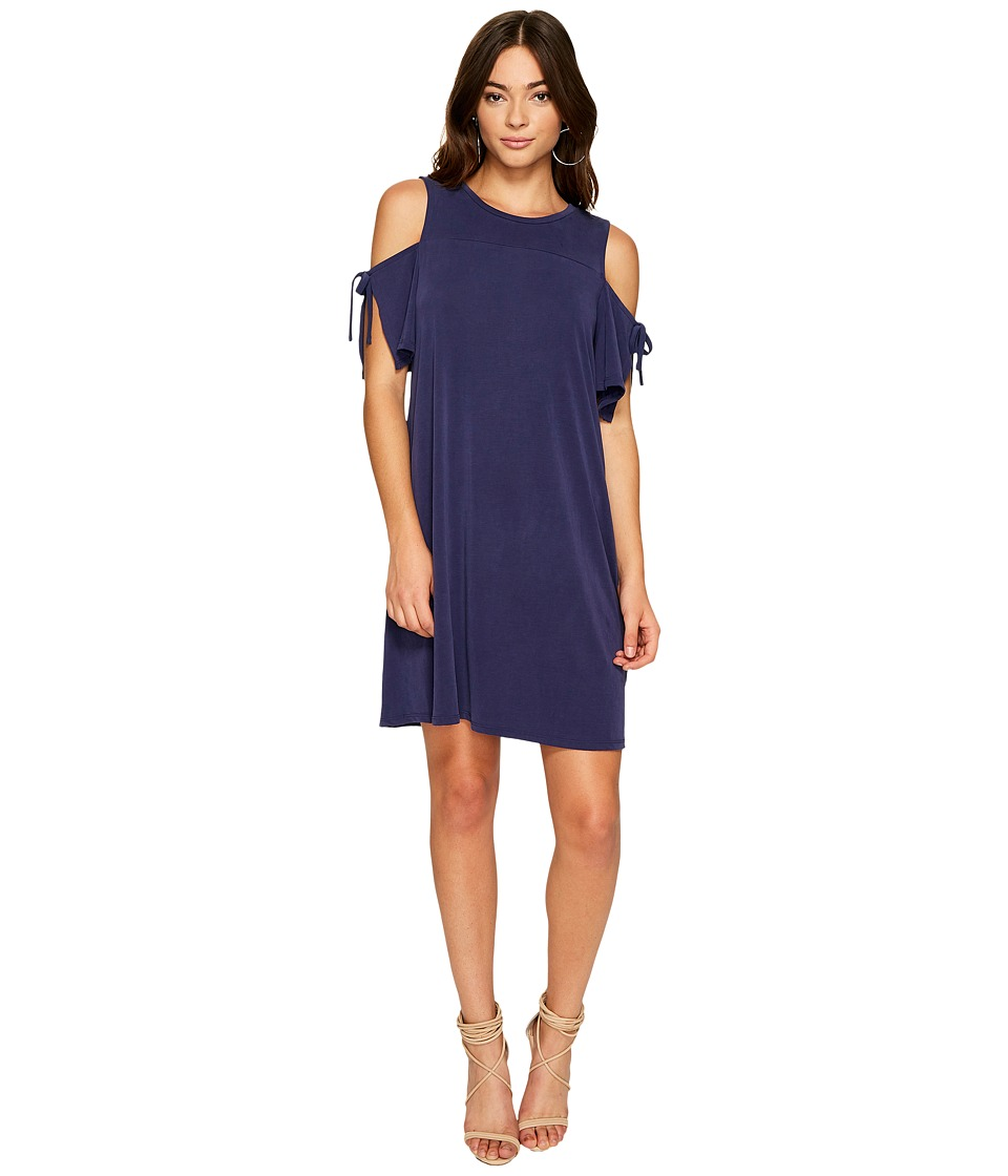 1.STATE Cold Shoulder Dress w/ Sleeve Ties (Evening Sky) Women