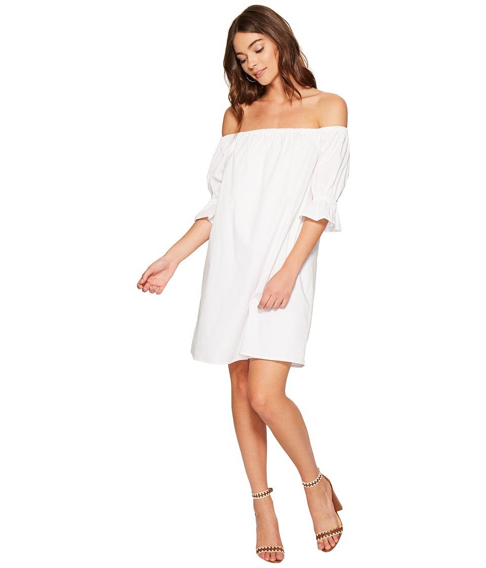1.STATE Off Shoulder Smocked Sleeve Shift Dress (Ultra White) Women