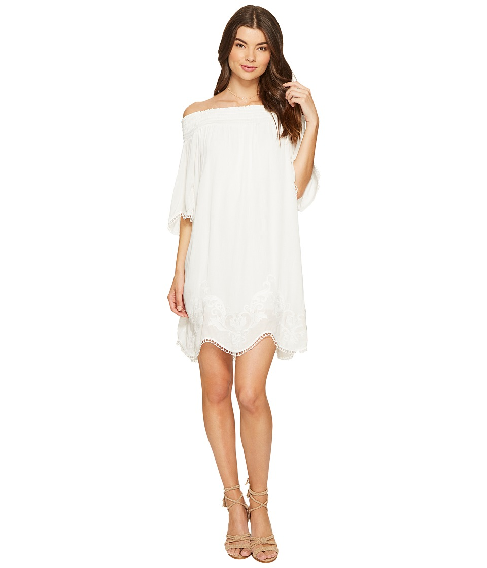 1.STATE Off Shoulder Embroidered Shift Dress (Cloud) Women
