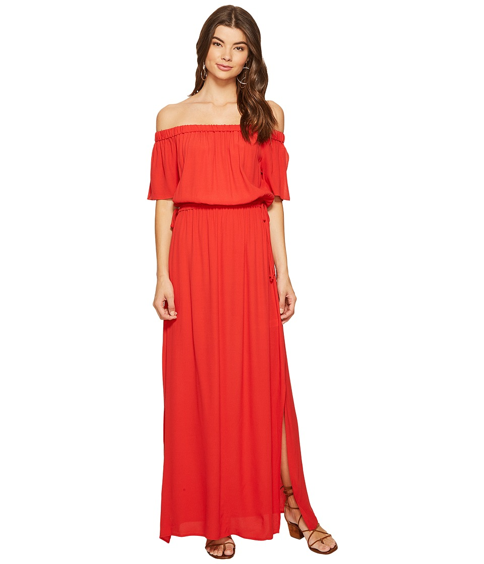 1.STATE Off Shoulder Maxi w/ Drawstring (Havana Red) Women