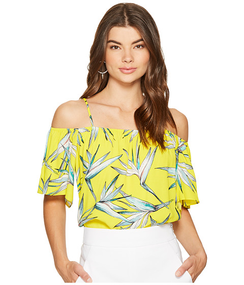 1.STATE Cold Shoulder Flounce Sleeve Top