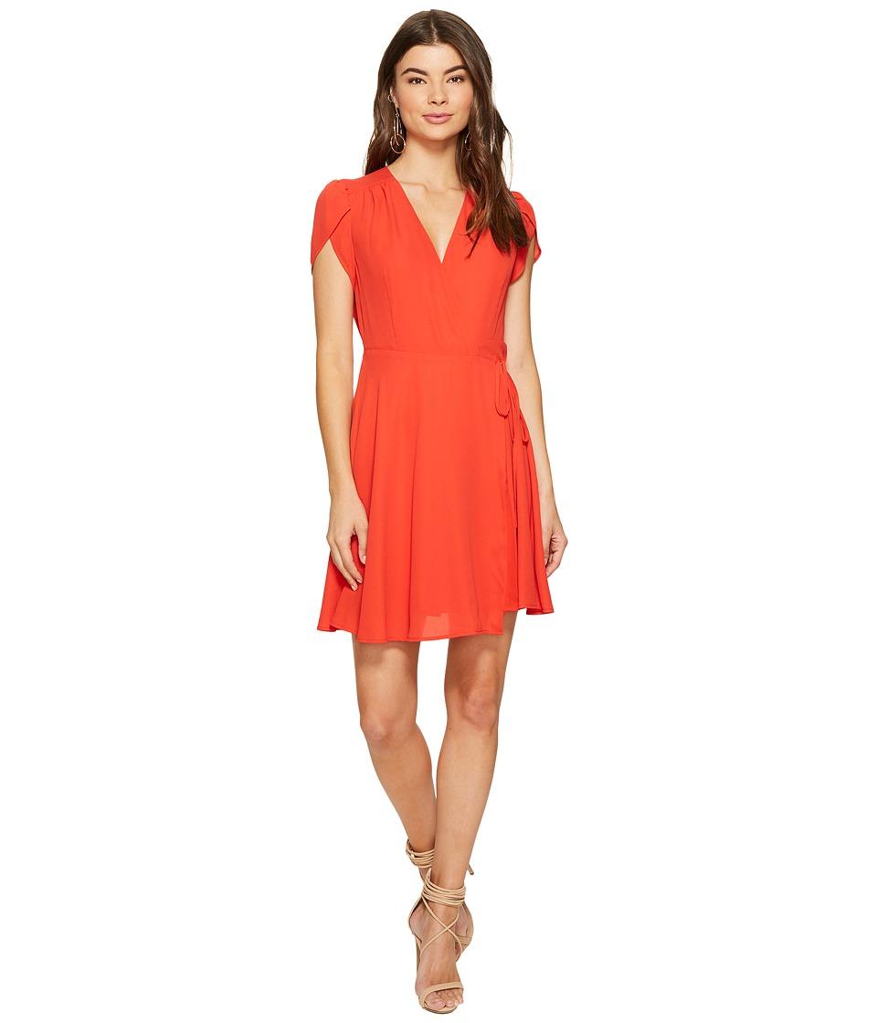 1.STATE Wrap Front Dress w/ Tie (Havana Red) Women