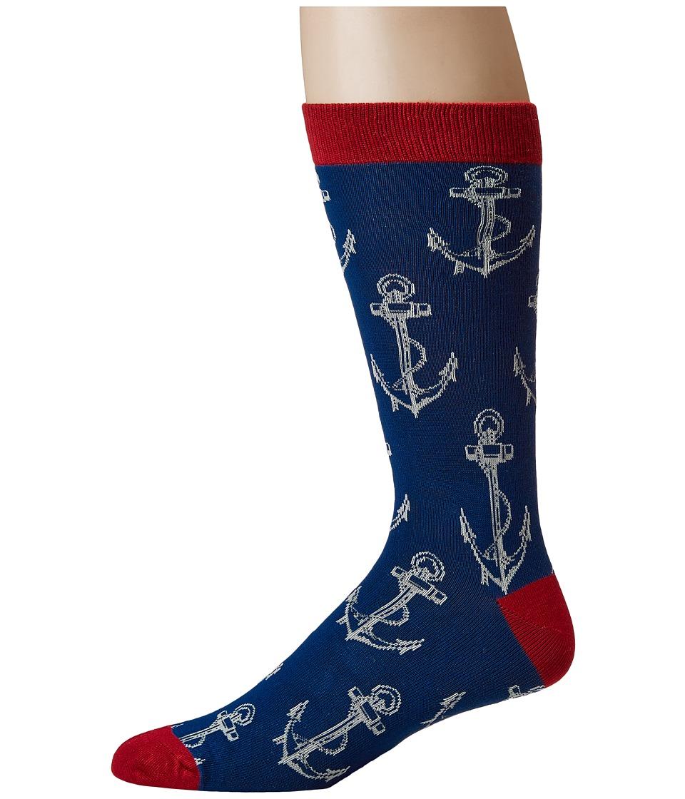 Socksmith - Bamboo Anchors (Navy) Mens Crew Cut Socks Shoes