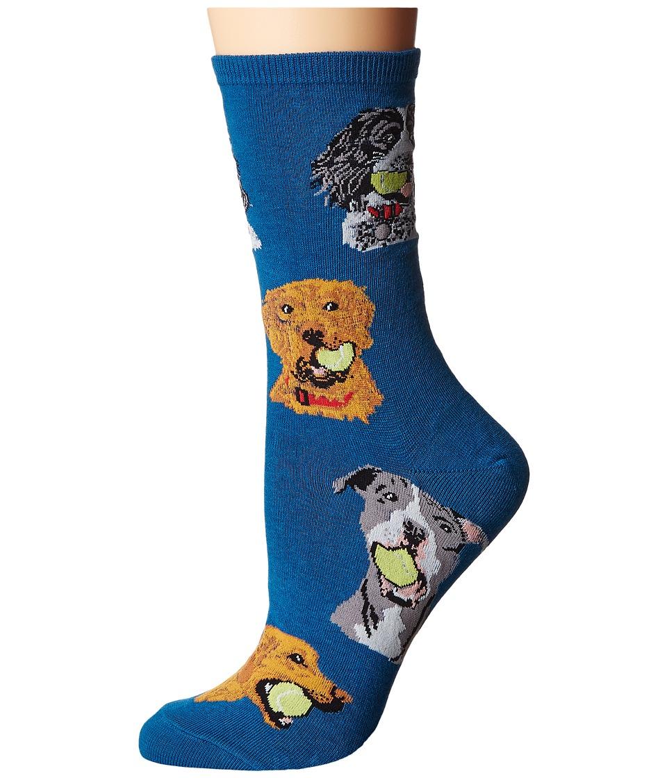 Socksmith - Ball Dog (Antique Blue) Womens Crew Cut Socks Shoes