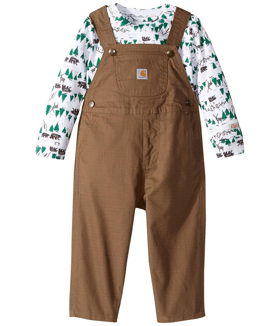 Carhartt Kids - Room to Roam Overalls Set (Infant) (Medium Brown) Boys Overalls One Piece