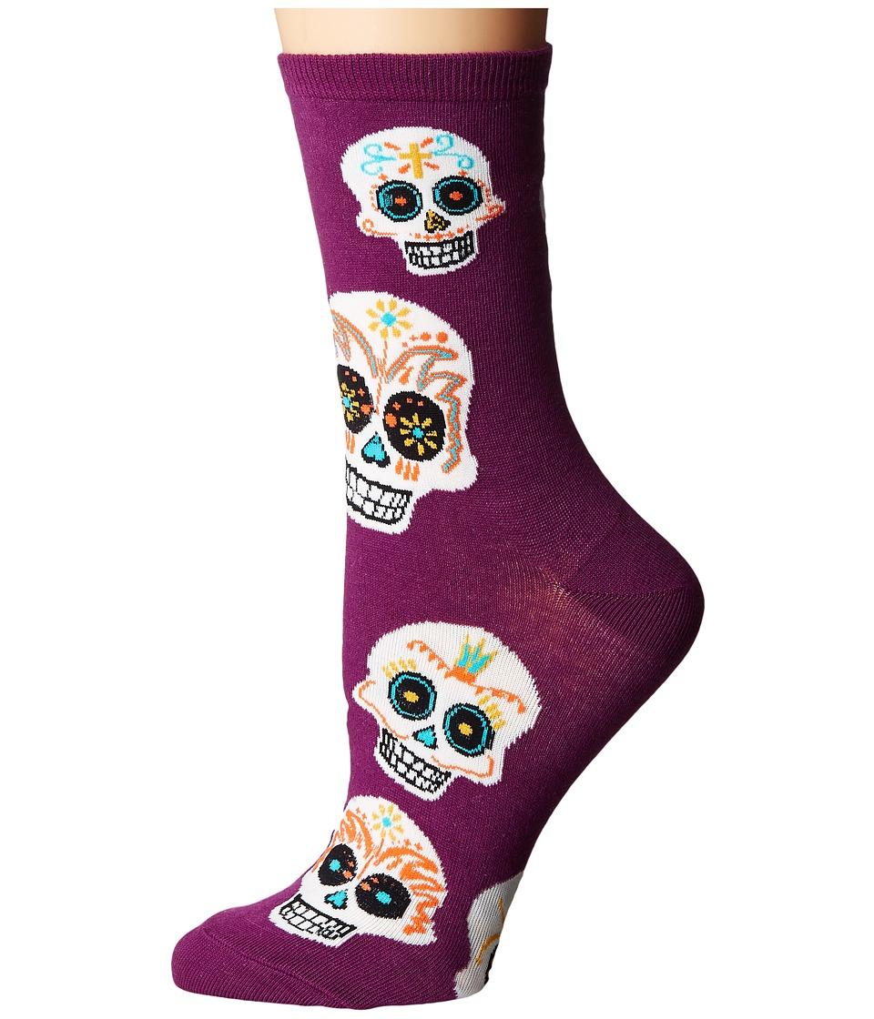 Socksmith - Big Muertos Skull (Royal Purple) Womens Crew Cut Socks Shoes