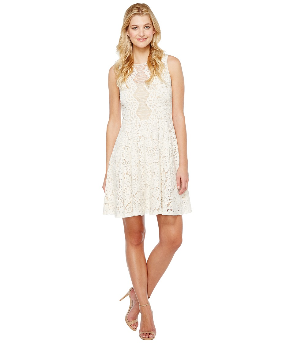 Christin Michaels Harriet Sleeveless Lace Dress (Ivory/Nude) Women