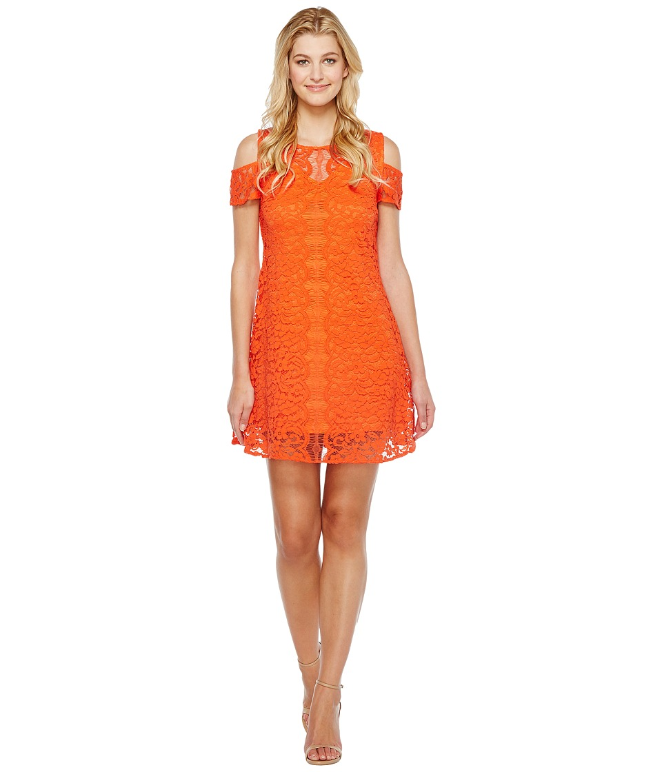 Christin Michaels Jeannine Cold Shoulder Lace Dress (Orange) Women
