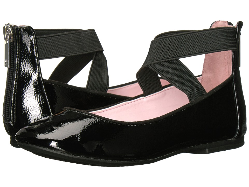 Nina Kids Marissa (Toddler/Little Kid/Big Kid) (Black Crinkle Patent) Girl's Shoes