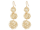 Kenneth Jay Lane - 3 Wrap Gold Wire Ball Drop Fishhook Ear Earrings