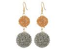 Kenneth Jay Lane - Gold/Silver Double Wire Ball Drop w/ Fishhook Ear Earrings