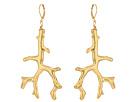 Kenneth Jay Lane - Polished Gold Branch Eurowire Ear Earrings
