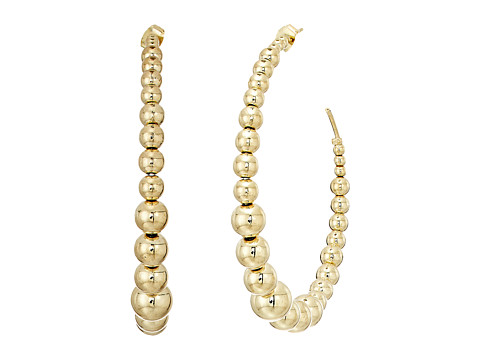 Kenneth Jay Lane Polished Gold Balls Open Circle Direct Post Ear Earrings - Polished Gold