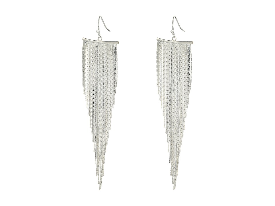 Kenneth Jay Lane Polished Silver Fringe Fishhook Earrings...