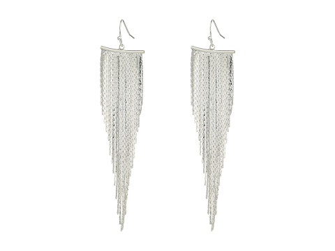 Kenneth Jay Lane Polished Silver Fringe Fishhook Earrings - Polished Silver