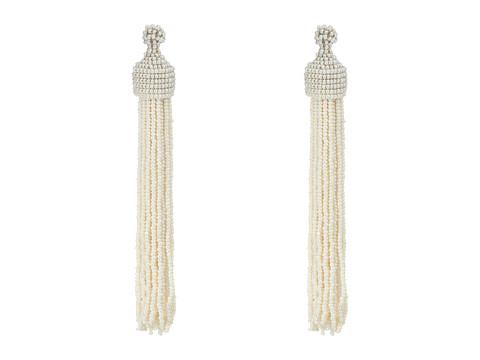 Kenneth Jay Lane White Pearl Seed Bead Tassel Direct Post Ear Earrings - White Pearl