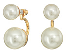 Kenneth Jay Lane Gold with Small Pearl Top/Large Pearl Drop Post Earrings