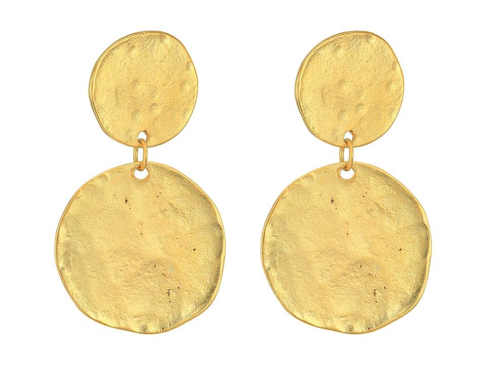 Kenneth Jay Lane - Satin Gold Coin Double Drop Pierced Ear Earrings (Satin Gold) Earring