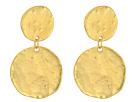 Kenneth Jay Lane - Satin Gold Coin Double Drop Pierced Ear Earrings