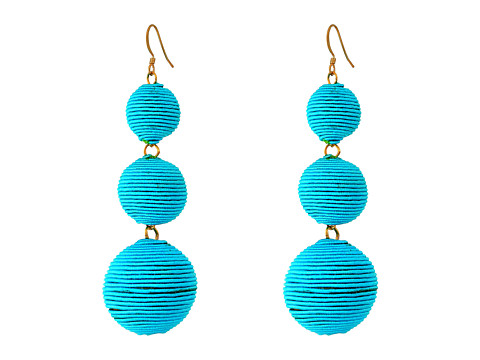 Kenneth Jay Lane Triple Graduated Turquoise Thread Wrapped Balls Fishhook Top Ear Earrings - Turquoise