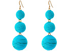 Kenneth Jay Lane - Triple Graduated Turquoise Thread Wrapped Balls Fishhook Top Ear Earrings
