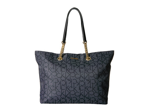 Calvin Klein Large Chain Nylon Tote - Dot Black/White