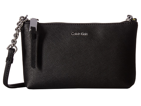 Calvin Klein Hayden Saffiano Key Item Crossbody - Black/Silver