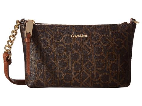 Calvin Klein Hayden Monogram Crossbody - Brown Khaki/Luggage Saffiano