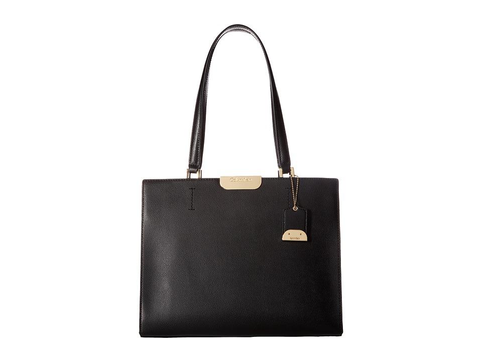 Calvin Klein Lola Saffiano Satchel (Black/Gold) Satchel H...