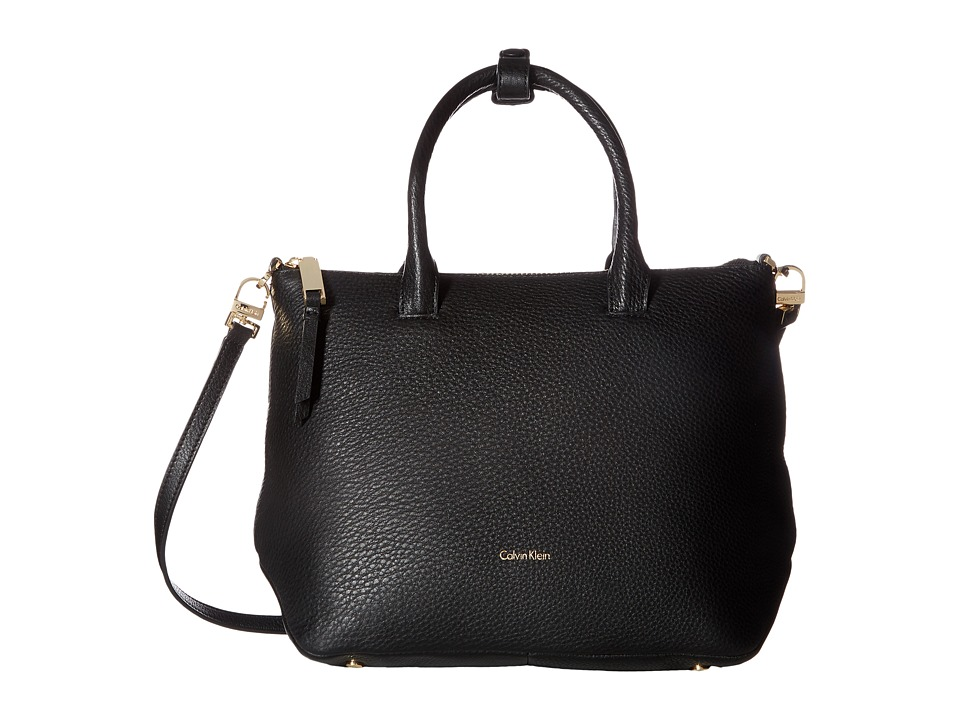 Calvin Klein Nyla Pebble Satchel (Black/Gold) Satchel Han...