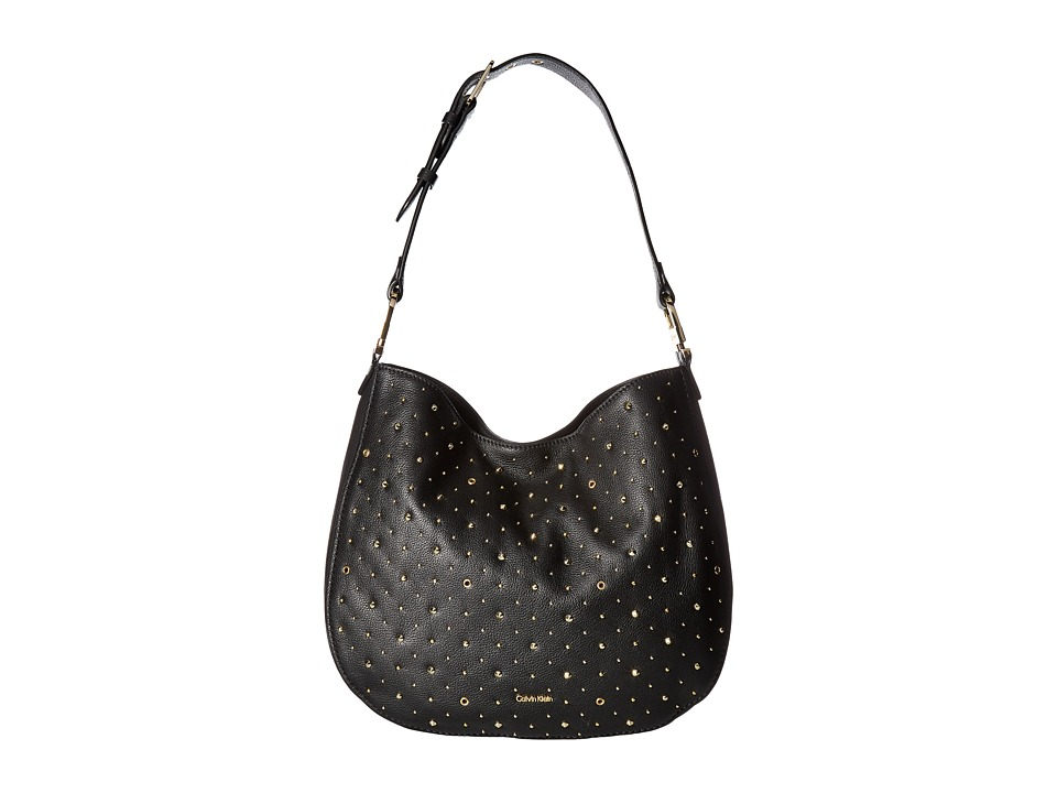 Calvin Klein Erica Pebble Embelished Hobo (Black Embellis...