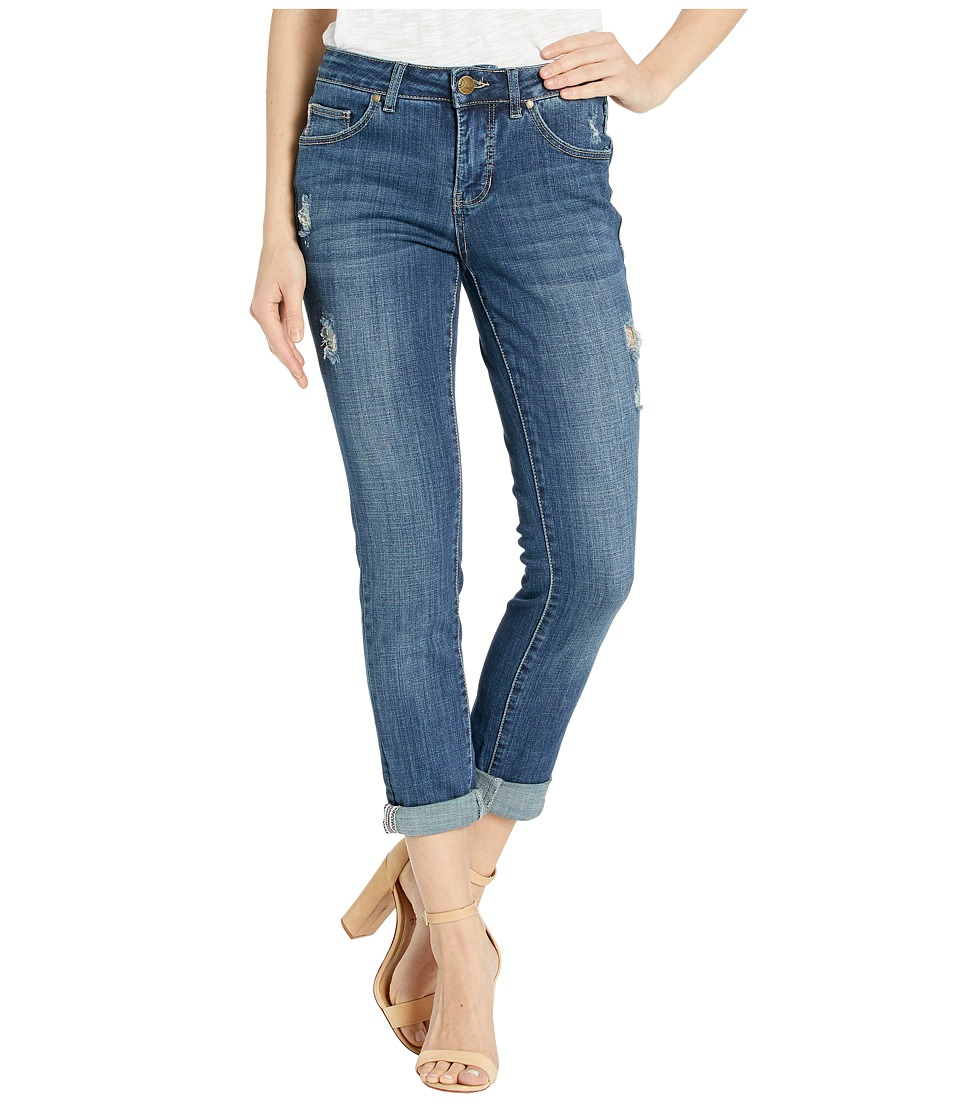 Jag Jeans - Carter Girlfriend Crosshatch Denim Jeans in Thorne Blue w/ Destruction (Thorne Blue) Womens Jeans