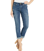 Jag Jeans - Carter Girlfriend Crosshatch Denim Jeans in Thorne Blue w/ Destruction