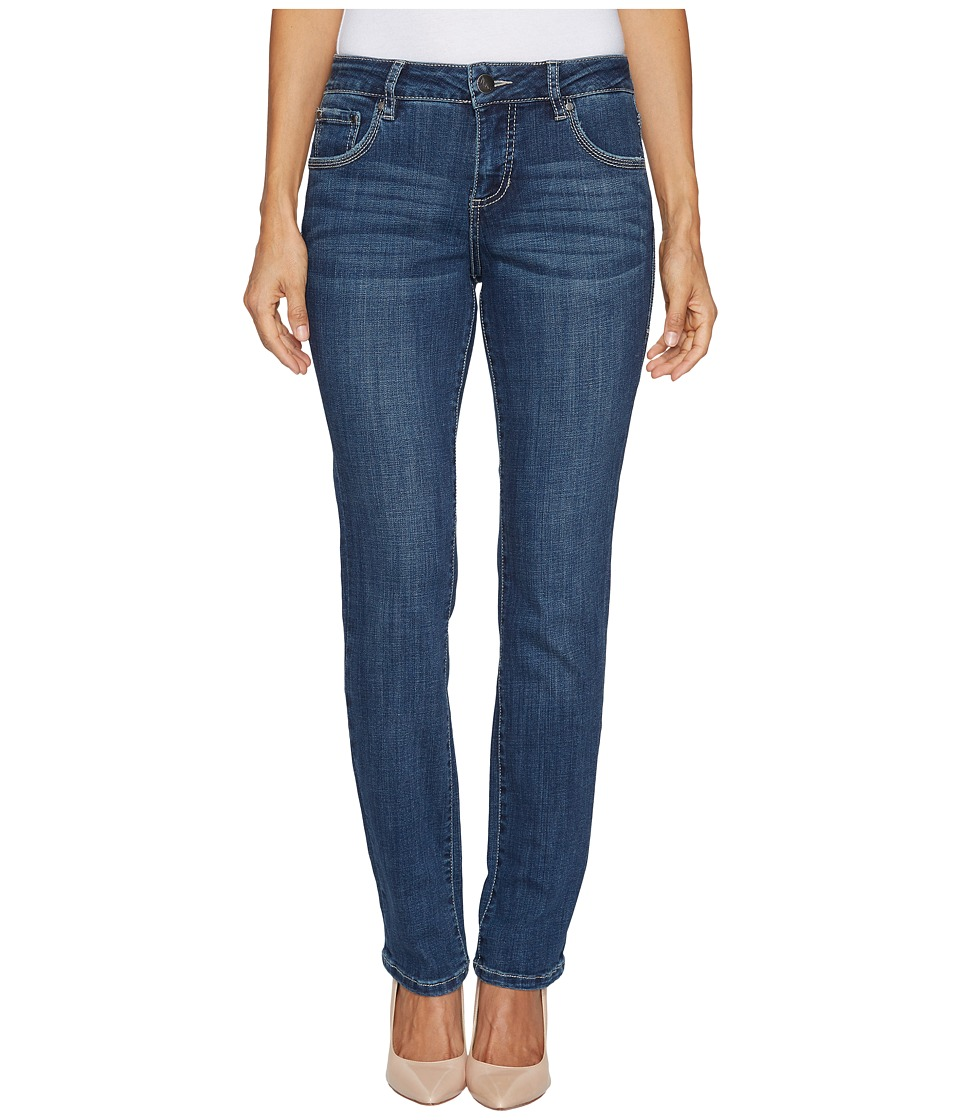 Jag Jeans Petite Petite Adrian Straight Crosshatch Denim in Mid Vintage w/ Back Flap Pockets in Thorne Blue (Thorne Blue) Women