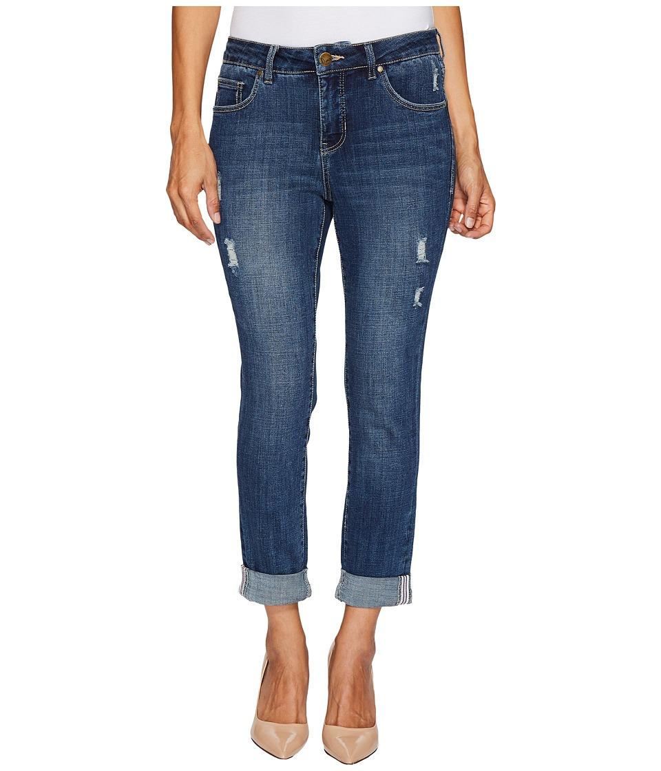 Jag Jeans Petite Petite Carter Girlfriend Crosshatch Denim Jeans in Thorne Blue w/ Destruction (Thorne Blue) Women