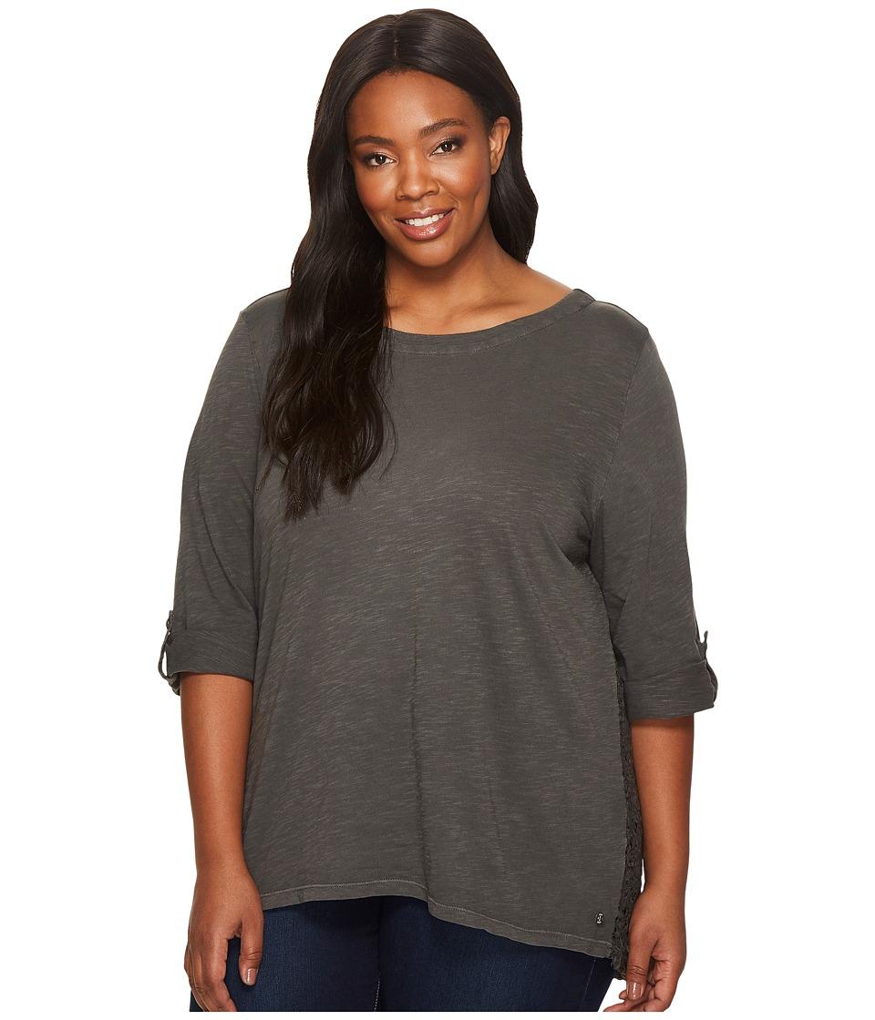 Jag Jeans Plus Size Plus Size Wren Tee with Crochet Lace Back in Slub Jersey (Charred) Women