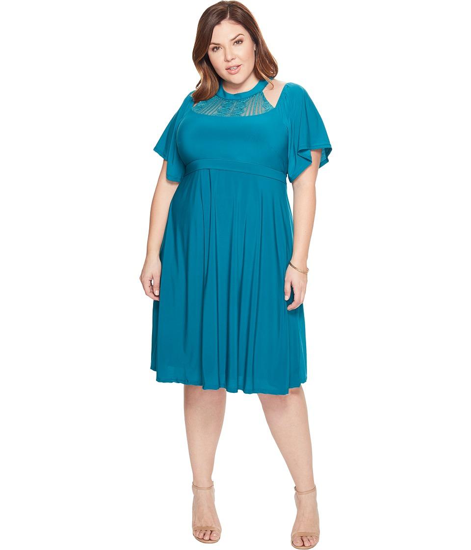 Kiyonna Elise Flutter Dress (Glistening Jade) Women