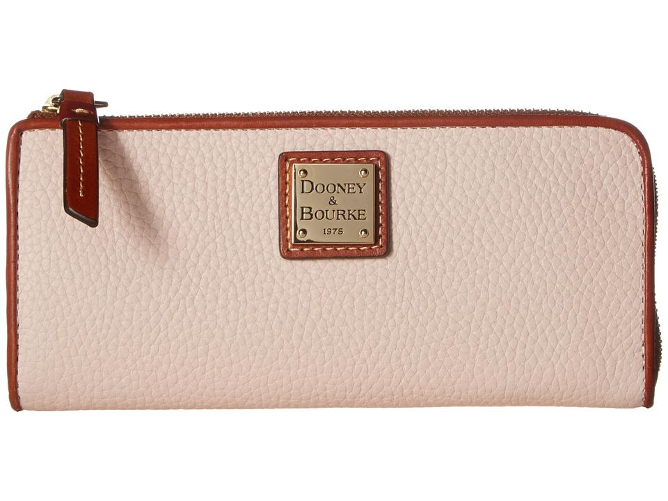 Dooney & Bourke Pebble Zip Clutch (Blush w/ Tan Trim) Clutch Handbags