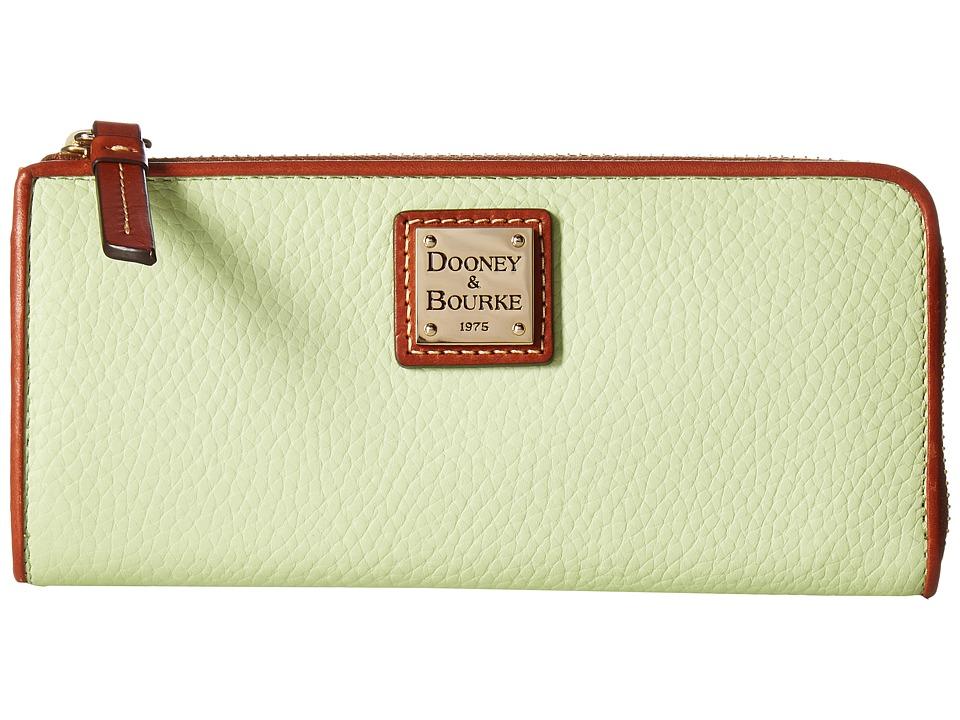 Dooney & Bourke Pebble Zip Clutch (Key Lime w/ Tan Trim) Clutch Handbags